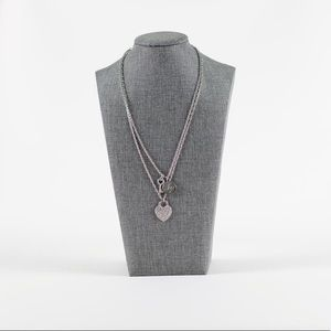 Lipsy London Silver Heart and Key Layer Necklace